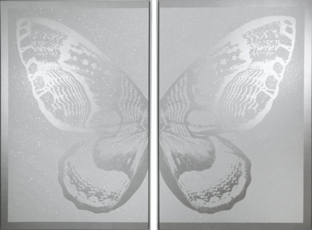 , 'Hybrid Diptych Butterfly I - Silver on White,' 2017, Art Angels