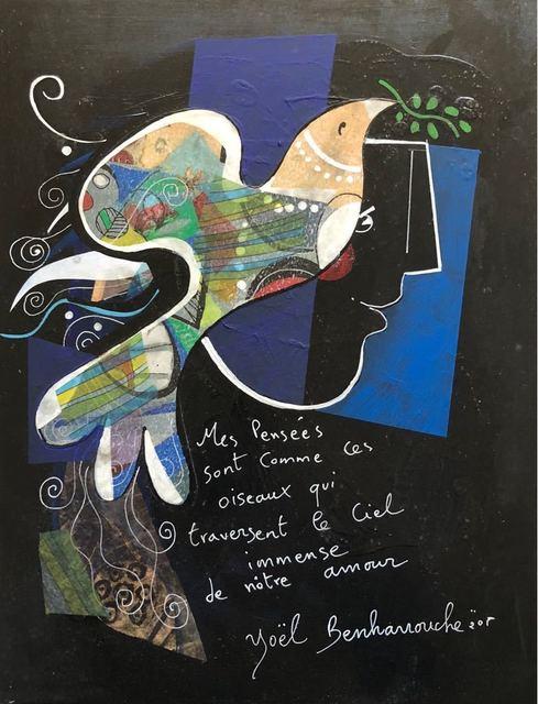 Yoël Benharrouche, 'Mes pensées sont comme ces oiseaux...', 2018, Painting, Original Acrylic on Wood, Eden Fine Art