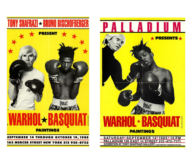 ", '2- Poster/Invites, ""Warhol / Basquiat Paintings"", Shafrazi Exhibition NYC,' 1985, VINCE fine arts/ephemera"