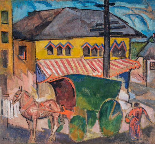 , 'Horse and Covered Cart in Town,' ca. 1918-19, WOLFS