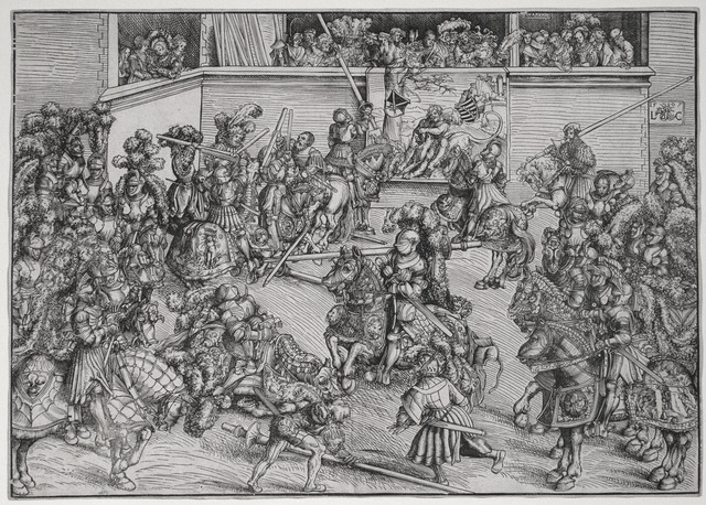 Lucas Cranach the Elder, 'The Second Tournament with the Tapestry of Samson and the Lion', 1509, R. S. Johnson Fine Art
