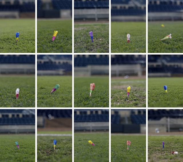 , 'The Field of Play (Lawn darts made from bubble gum wrappers by bullpen pitchers),' 2013, Rick Wester Fine Art