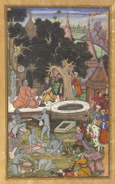 'Babur and his retinue visiting Gor Khatri, page 22b from a manuscript of Baburnama (The Book of Babur)', 1590s, Drawing, Collage or other Work on Paper, Opaque watercolor, gold and ink on paper, Asian Art Museum