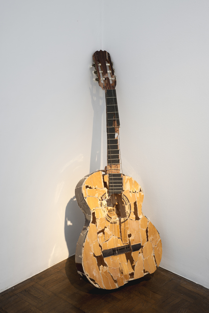 Sofia Hultén, 'Fuck it up (with guitar)', 2001, Sculpture, Smashed and repaired guitar, video, Meessen De Clercq