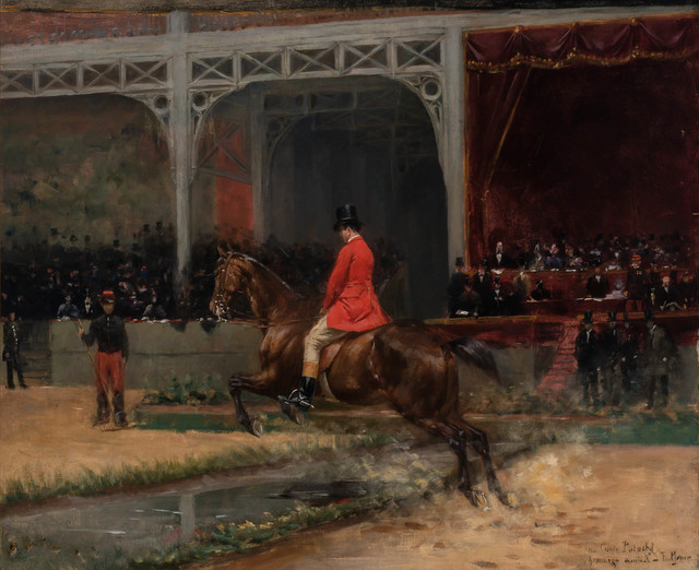 Emile Meyer, 'Count Potocki Riding in the Horse Show at the Hippodrome, Paris', Painting, Oil on canvas, Doyle