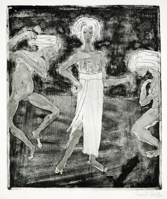 Emil Nolde, 'Junger Fürst und Tänzerinnen ', 1918, Print, Line- and Tonal-Etching, Henze & Ketterer & Triebold