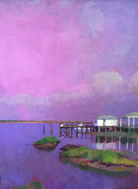 ", '""Ultramarine Pink Mood"" oil painting of dock in pink and purple water and sky,' 2019, Eisenhauer Gallery"