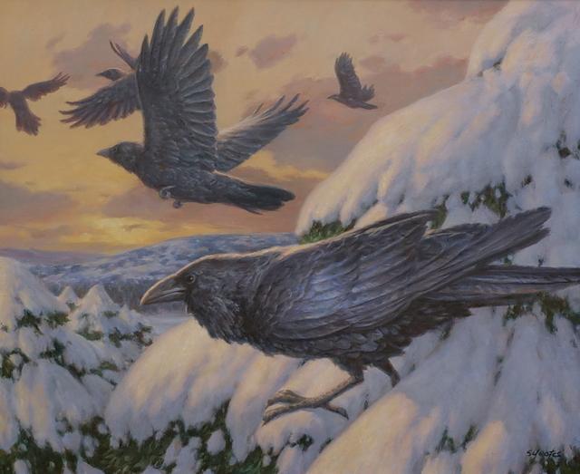 , 'Ravens in Winter,' , Davis Gallery & Framing