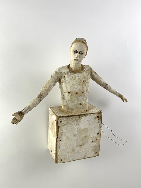Cathy Rose, 'Resolve', 2021, Sculpture, Hand formed clay assembled with altered wood, paint, fabric and metal, Sue Greenwood Fine Art