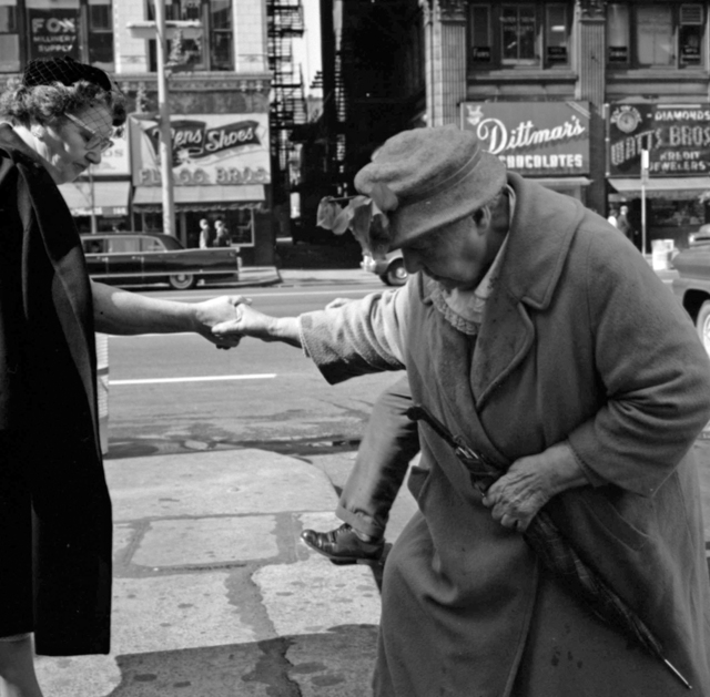 "Vivian Maier, 'VM1962W01046 - Chicago, IL, 1962, Helping Older Woman Cross Street, 12"" X 12""', Printed 2017, KP Projects"