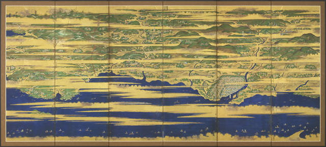 , 'A Japanese six-fold screen with a map of Buzen and Bungo provinces, depicting numerous figures and ships at sea amongst golden clouds,' circa 1621, 1632, Edo period, Gregg Baker Asian Art