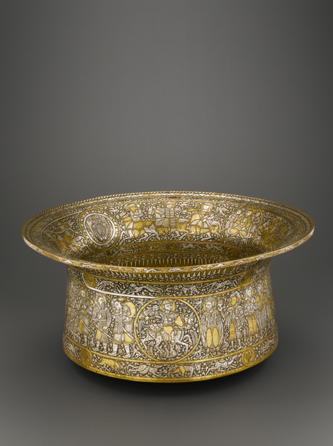 """'Bassin dit """"Baptistère de Saint Louis"""" (Basin called the """"Baptistry of Saint Louis"""")', Sculpture, Metal (brass) hammered, engraved decoration, inlaid with re-engraved silver and gold, Musée du Louvre"""