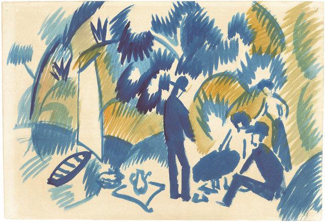 , 'Am Thuner See, Picknick nach dem Segeln,' 1913, Ludorff