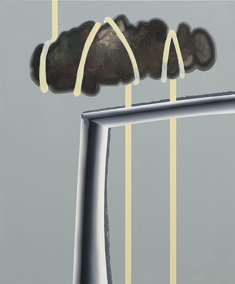Kevin Aeschbacher, CHASRISMALIMBOINDIAFOXTROTTFUCKFACE, 2014, oil and acrylic on cotton, 90 x 75 cm