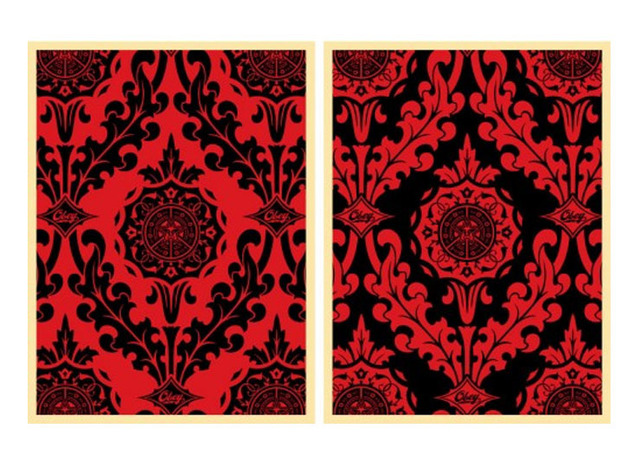 Shepard Fairey, 'Parlor Pattern Red and Black diptych', 2010, Artsnap