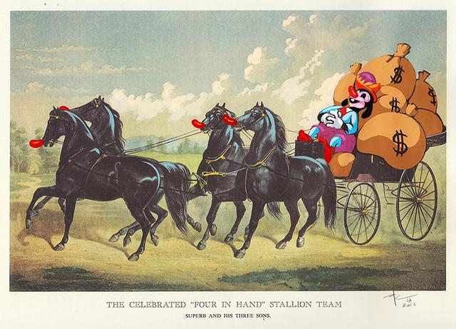 , 'The Celebrated Stallion Team ,' 2017, heliumcowboy