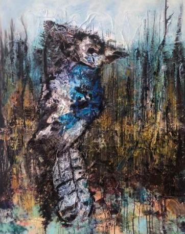 SylT, 'Blue Jay', 2021, Painting, Mixed media on board, Thompson Landry Gallery
