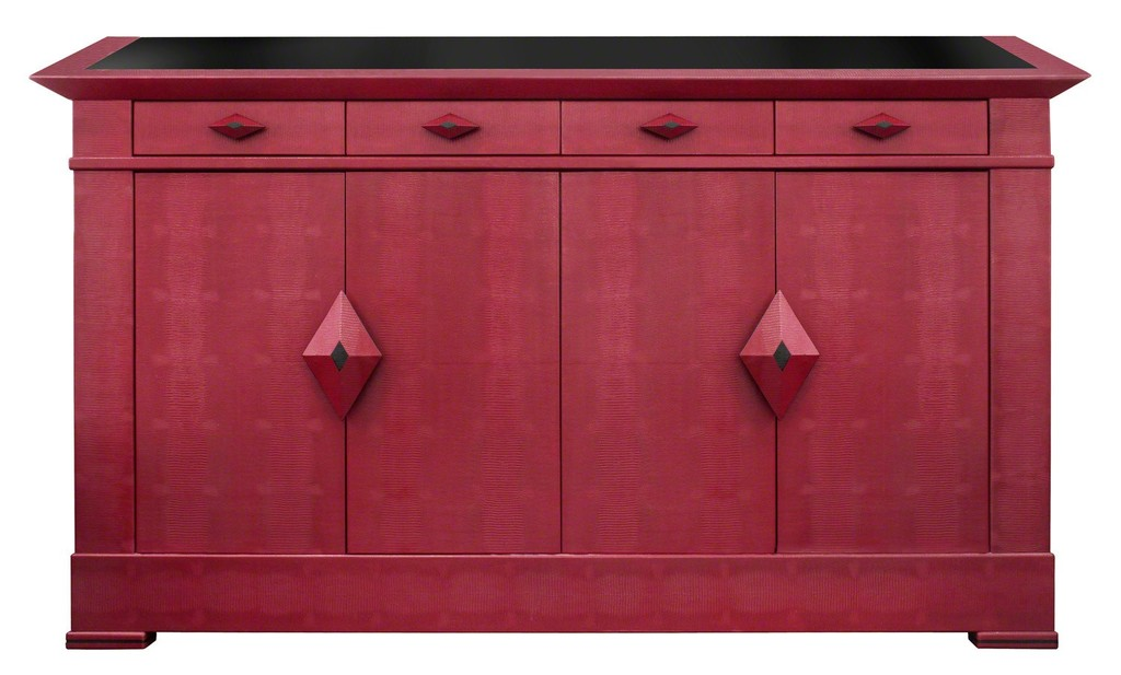 """Pergamon Credenza"" in Burgundy Embossed Lizard Leather"