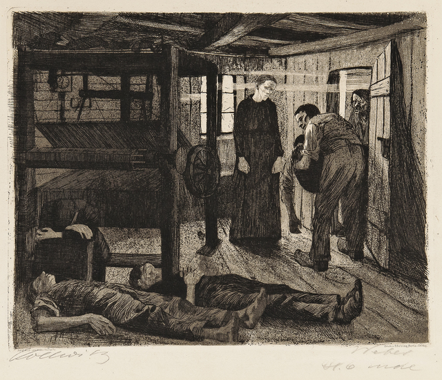 Käthe Kollwitz, 'Two Plates from Ein Weberaufstand', Print, Dry stamp lithograph printed in brown, Skinner