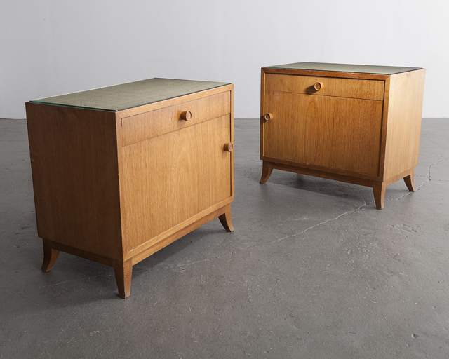 , 'Pair of bedside tables in jacaranda with glass tops,' 1947, R & Company