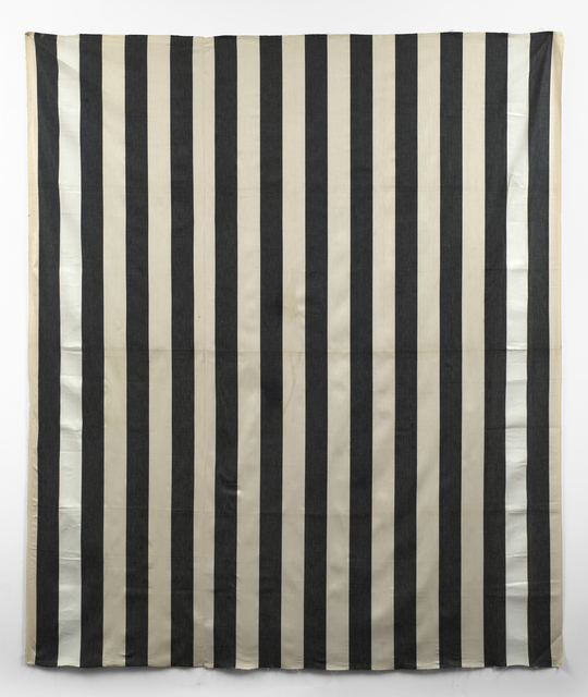 , 'Peinture acrylique blanche sur tissu raye blanc et noir (White acrylic paint of striped black and white cotton canvas),' 1971, Simon Lee Gallery