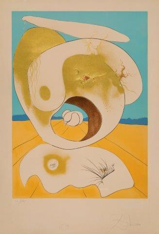 Salvador Dalí, 'Vision planetaire et scatologique [Michler & Löpsinger 645]', 1974, Print, Drypoint etching on chromolithograph with embossing in colours on Arches wove, Roseberys