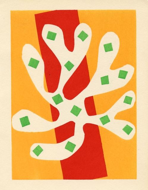 , 'Algue blanche sur fond orange et rouge,' 1953, Artsnap