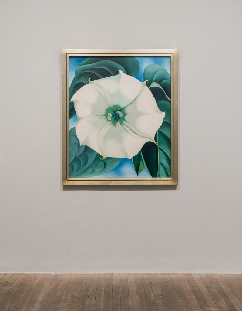 Installation shots from the Georgia O'Keeffe exhibition at Tate Modern. Georgia O'Keeffe, Jimson Weed/White Flowers No. 1 1932. Photograph courtesy Tate Photography