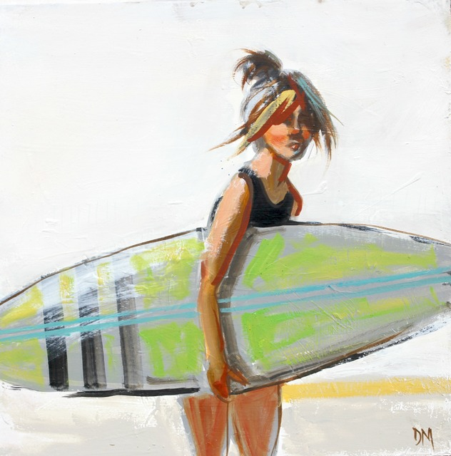 ", '""Swim #15"" Girl Carrying Green Surfboard in Painterly Style with White Background,' 2010-2018, Eisenhauer Gallery"