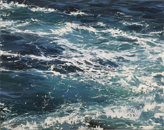 ", '""Waters Blue II"" oil painting of waves in dark blue water,' 2010-2017, Eisenhauer Gallery"