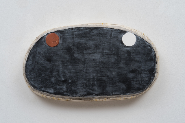 , 'Black Odd Shape with Red Oxide and White Circles,' 2016, Barry Whistler Gallery