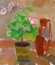 Nature morte with geranium and brown pitcher