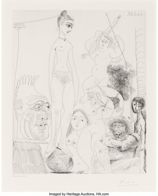 Pablo Picasso, 'Autoportrait transposé et dédoublé rêvant au cirque, avec Jacqueline en acrobate à la boule,  plate 9, from Séries 347', 1968, Heritage Auctions