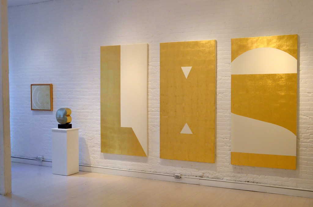 from left: 'Cambio',50 x 50 cm gold leaf on canvas. 