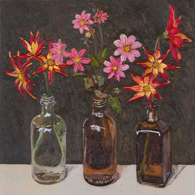 , 'Dahlias in bottles,' 2018, Jan Murphy Gallery
