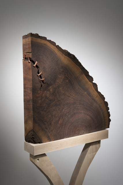 Betty McGeehan, 'Minimal Wood Abstract Sculpture: 'Conservation'', 2015-18, Sculpture, Walnut Wood, Copper, Ivy Brown Gallery