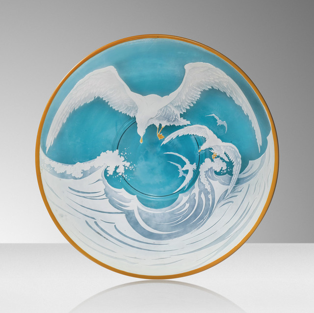 Galle, 'A 'Seagulls' charger', circa 1927, Design/Decorative Art, Cameo glass, overlaid and acid-etched, Christie's