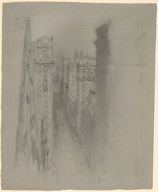 Stanford White, 'North on Broadway from Trinity Church', ca. 1900, Drawing, Collage or other Work on Paper, Graphite on blue-gray laid paper, National Gallery of Art, Washington, D.C.