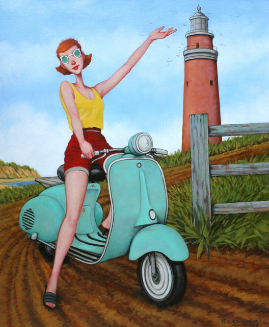 Fred Calleri, '''Taking Turns'' oil painting of a redheaded woman on a turquoise vespa at Aquinnah Lighthouse', 2019, Eisenhauer Gallery