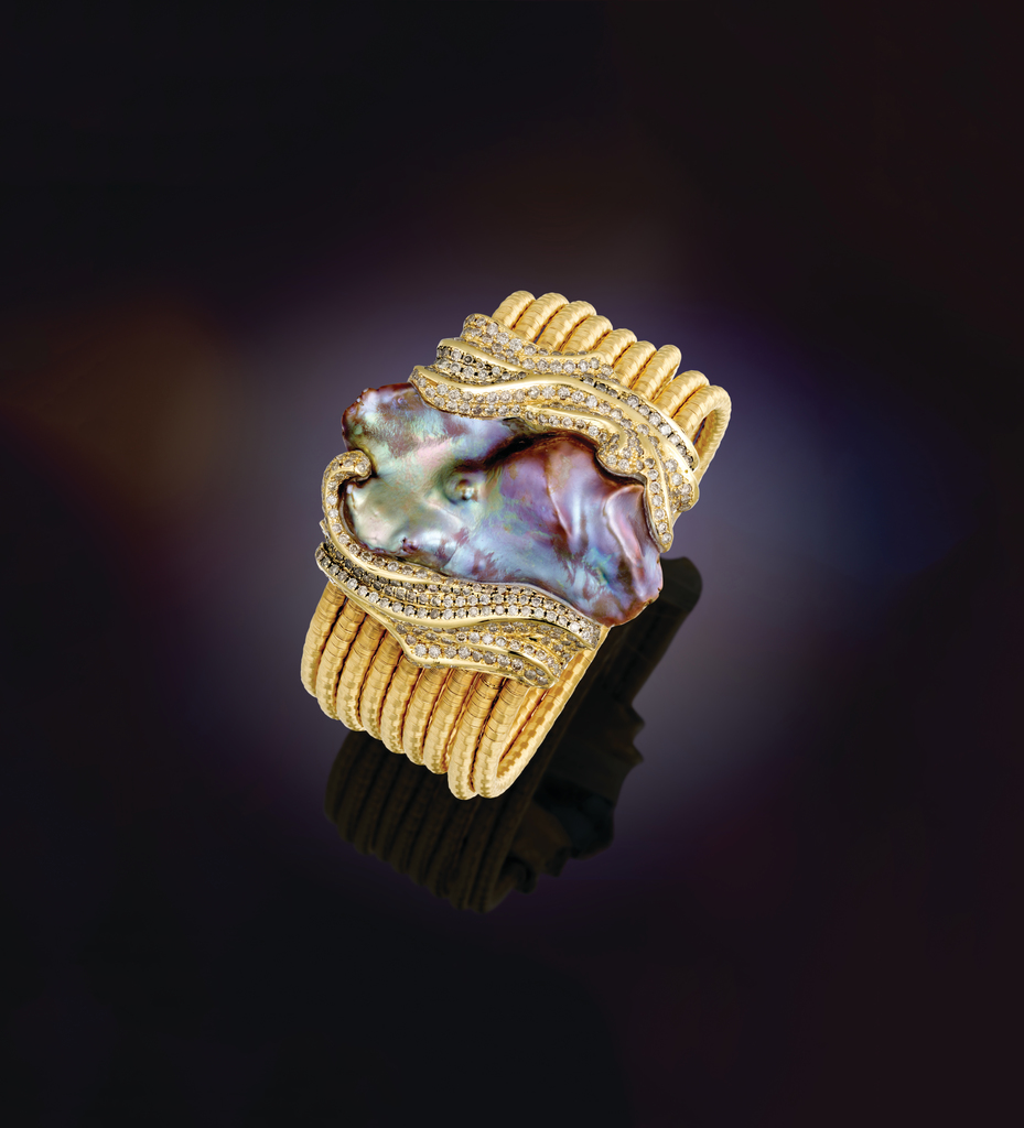 Purple free-form pearl enhanced by natural cognac diamonds in 18k hand-woven gold