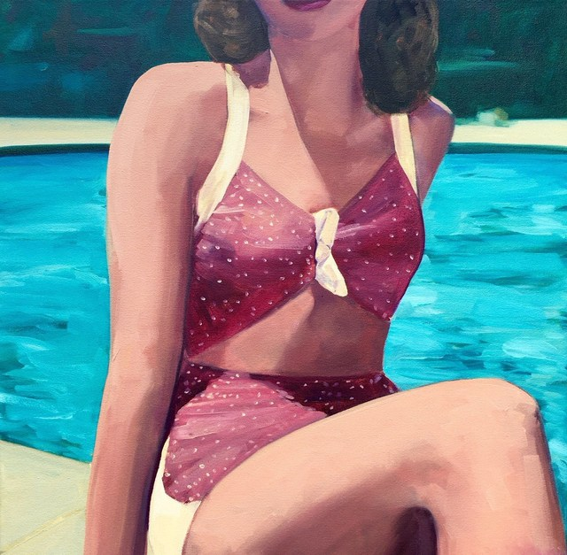 ", '""Poolside"" Woman in Vintage Purple Bathing Suit with Turquoise Pool Water,' 2010-2018, Eisenhauer Gallery"