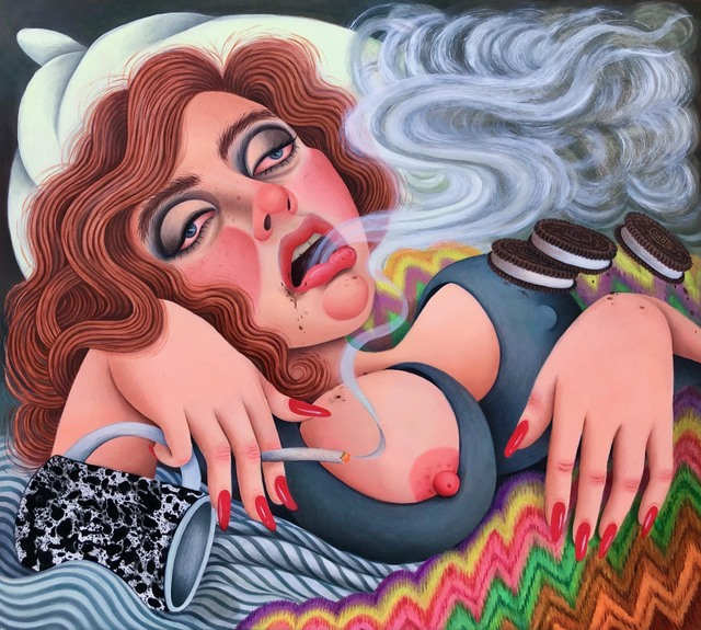 , 'Self-Portrait as Bernini's Ecstasy of Saint Teresa, Face Unwashed, Smoking and Eating Oreos in Bed,' 2019, Asya Geisberg Gallery