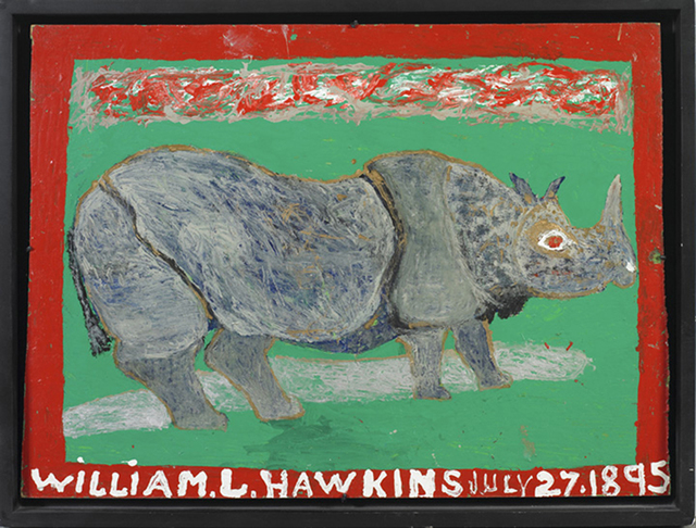 William Hawkins, 'Rhino with Red Border, Grey Background', 1984, Ricco/Maresca Gallery