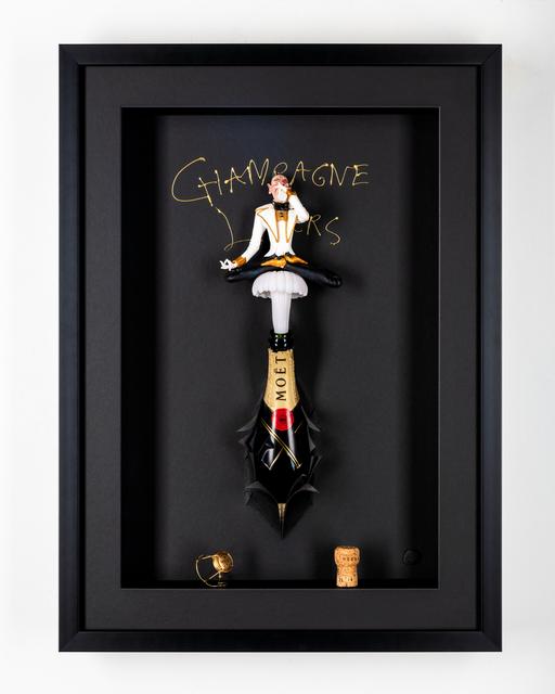 Kunst met een R, 'Champagne Lover Classic ', 2020, Sculpture, 3D Shadow Box, Eden Fine Art