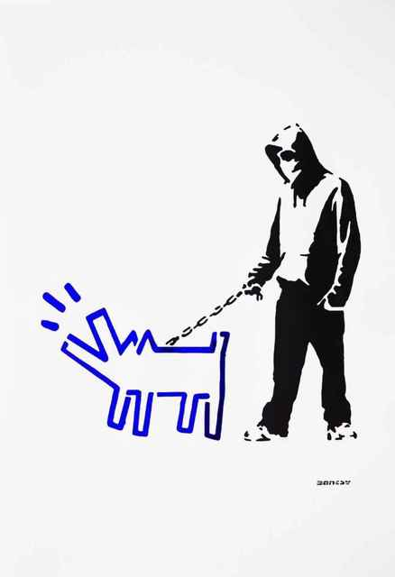 Banksy, '(After Banksy) Hoodie & Haring Dog (Blue)', 2017, Leviton Fine Art