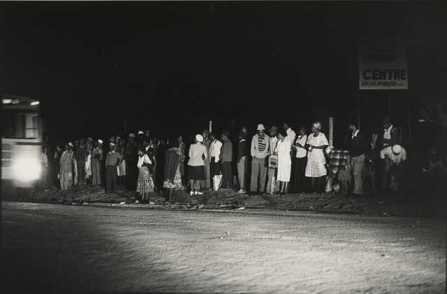 , '2:45am: the first bus of the day pulls in at Mathysloop on the Boekenhouthoek - Marabastad route from KwaNdebele to Pretoria,' 1983, Pace/MacGill Gallery