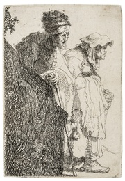 Beggar Man and Woman behind a Bank