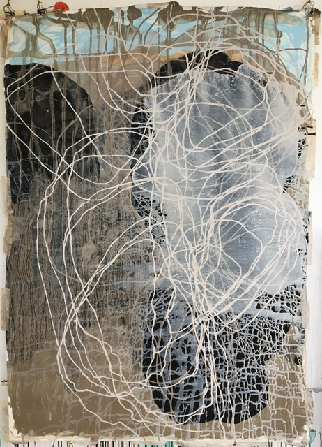 Sara Dudman RWA, 'Dynamic Equilibrium (Stone Dialogue) 03', 2020, Painting, Somerset Coast Mudstone Paint with Indian Ink and gesso on Paper, Joanna Bryant & Julian Page