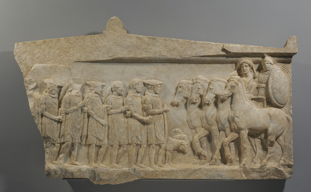 'Votive Relief to Achilles and Thetis', ca. 350 BCE, J. Paul Getty Museum