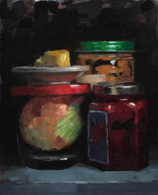 Tom Giesler, 'Peanut butter onion butter jelly: peanutbutter, onion in jar, salted butter, strawberry jam', 2019, Painting, Oil on panel, McVarish Gallery